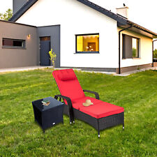 Chaise Lounge 2 Pcs Chair Black Outdoor Rattan Couch Patio Furniture W/Table