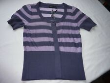 FRANSA SIZE S/32 LILAC/GREY STRIPED VISCOSE/BOMULD SHORT SLEEVE TOP BNWT