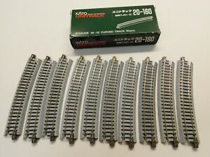 N Scale - KATO Unitrack (10) Pieces of 20-160 Curved R481-15 Track Pieces