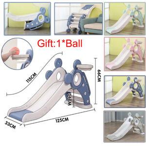 Folding Kids Slide Set with Basketball Hoop Climbing Frame Kids Indoor Outdoor