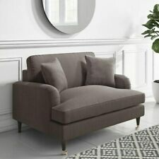 Grey Woven Fabric Loveseat Seater Sofa Couch Lounge with 2 Cushions