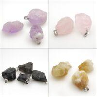 New Natural Gemstones Irregular Nugget Reiki Chakra Silver Pendant for Necklace