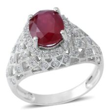 NIASSA RUBY WHITE TOPAZ STERLING SILVER RING 10