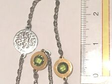 REBECCA OF ITALY Dark Green Circles And Silver Circle Toggle Necklace