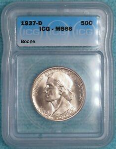 1937-D MS-66 Daniel Boone Classic Commemorative Silver Half 2,506 Minted