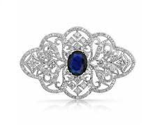 Vintage Style Sapphire Dark Blue Wedding Bouquet Shiny Diamante Brooch Pin BR326