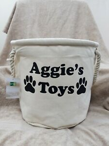 PERSONALISED DOG TOY STORAGE PET COLLECTION BOX HEAVY CANVAS TRUG ORGANISER BAG