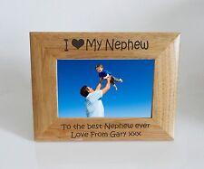 Nephew Photo Frame - I heart-Love My Nephew 7 x 5 Photo Frame - Free Engraving