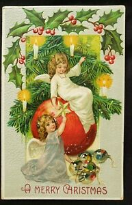 Antique Christmas Card die cut Embossed design Angels Albany New York  1908