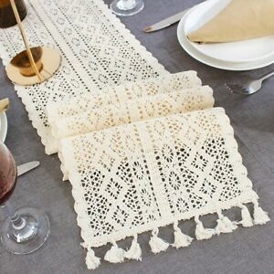 Rustic Hessian Lace Table Runner Tablecloth Wedding Banquet Party Dinner Decor