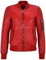 Ladies Casual Jacket Red Real Leather Retro Bomber Biker Style Jacket 2348