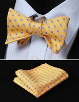 BF2020Y Yellow Blue Floral Woven Men Silk Self Bow Tie handkerchief set