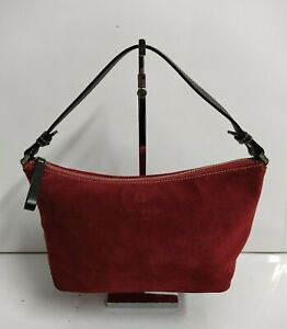 Kate Spade Red Suede Leather Small Hobo Shoulder Bag Zipper Closure