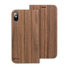 Nalia echt Holz hülle für Apple iPhone X XS Wood Case Flip Cover Handy Schutz