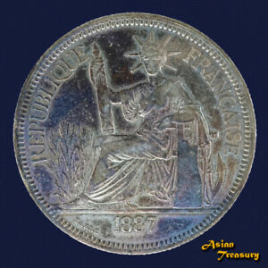 1887A FRENCH INDOCHINA 1 PIASTRE SILVER CROWN COIN VF VIETNAM LAOS CAMBODIA