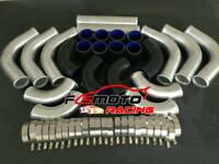 "12PCS 2"" 51mm Aluminum Universal Intercooler Turbo Pipe + BLACK Hose + T-Clamps"