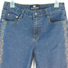 JeanBay Women's Cropped Jeans Size 6 Embellished Embroidered Golden Stitched