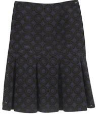 CHANEL Skirt Black Navy Blue Floral Eyelet Zipper Cotton 36 Knee-length 06P 2006
