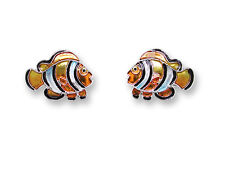 New Zarah Enamel Jewelry Sterling Silver Post Earrings Clownfish Ocean Fish
