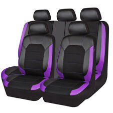 CAR PASS Car Seat Cover Black Purple Universal Rear Split Bench for Nissan Ford