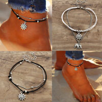 Women Trendy Silver Boho Ankle Bracelet Foot Feet Girls Beach Chain Jewelry