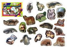 20 Wooden Australian Animal Photo Magnets in Box - Koala, Kangaroo, Educational