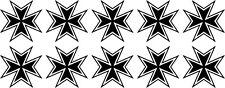 10x Malteserkreuz Maltese Cross 55 Aufkleber