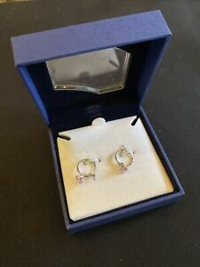 Swarovski Crystal Fuchsia Pink Mini Silver Hoop Earrings with box