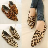Womens Casual Pointy Toe Boat Shoes Leopard Flat Heel Slip On Date Shoes Plus Sz