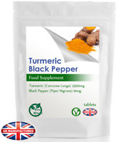 Max Strength Turmeric 2500mg & Black Pepper Tablets (V) Curcumin & Piperine, UK
