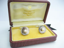 Vintage Japan MIKIMOTO Sterling Silver & White Pearl & Grey MOP Cufflinks Cased