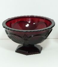 Avon Ruby Cranberry Red Glass Cape Cod Candy Dish Footed Open Pedestal Bowl 6""