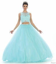 SALE ! 2 PIECE QUINCEANERA DRESS SWEET 16 PARTY PAGEANT PROM MILITARY BALL GOWNS