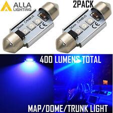 Alla Lighting 3-LED 3030 SMD 41MM Blue Interior Overhead Upper Dome Light Bulb