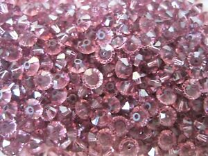 142 preciosa squished spacer crystal bicone beads,5x3mm Amethyst