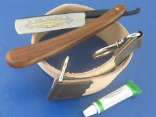 Schleif Paste Solingen Rasiermesser im Set Goldätzung 5/8 Zoll und Streichriemen