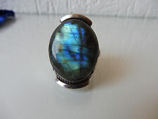 Bonito, grande, edad anillo __ 925 plata __ con bellos, gran piedra __ la labradorita __!