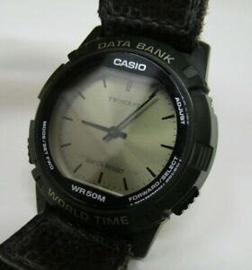 MENS VINTAGE CASIO WATCH DATABANK WORLD TIME WATCH SPORTS WATCH ABX-20 NICE COND