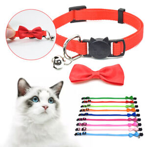 Adjustable Cute Cat Kitten Pet Bow Tie Collar With Bell Cat Small Pet Puppy GIFT