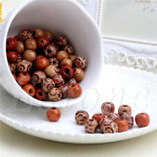 100x Mixed Large Hole Ethnic Pattern Stringing Wooden Beads DIY Jewelry Finding