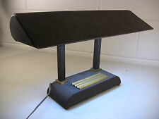 Vintage Desk Lamp Brass Pen Tray Art Deco Columns Executive Bankers Office 1950s