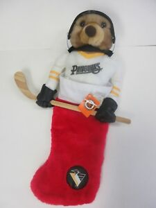 Rare PITTSBURGH PENGUINS 1994 Christmas Stocking NHL Bear Hockey Stick with Tags