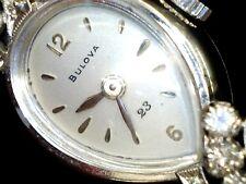 1961 Women's Vintage 14k White Gold Bulova Diamond Watch Art Deco Mechanica wind