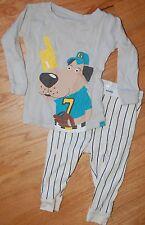 Baby Gap BASEBALL Dog 2 Piece Pajama Sleep Set Boy's Cotton Knit Sz 6-12M