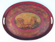 Antique Large French Hand Painted Red Tole Ware Tray Greek Ruins Acropolis Gold