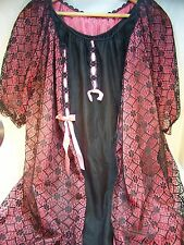 Vintage Peignoir Nightgown Black and Pink Lace Size M 100% Nylon Union Made USA