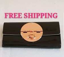 FREE POST MIMCO BLACK ROSE GOLD TURNLOCK LARGE WALLET PATENT LEATHER RRP199