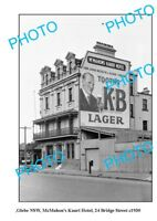 OLD LARGE PHOTO GLEBE NSW McMAHONS KAURI HOTEL TOOHEYS BEER c1930