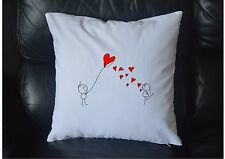 """Couple in Love Heart Kite 100% Cotton Cushion Cover Printed Design 18""""x18"""""""