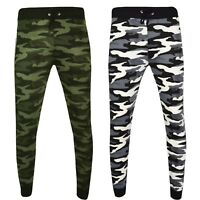 New Mens Camo Skinny Camouflage Joggers Camo Jogging Pants Fleece Army Bottoms